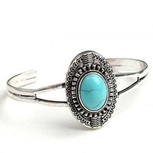 TWO LEFT! Turquoise and Silver Boho Cuff Bracelet